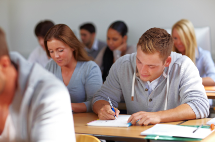 students learning in University