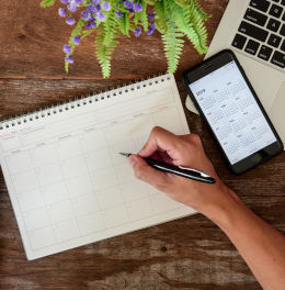 calendar, phone, laptop